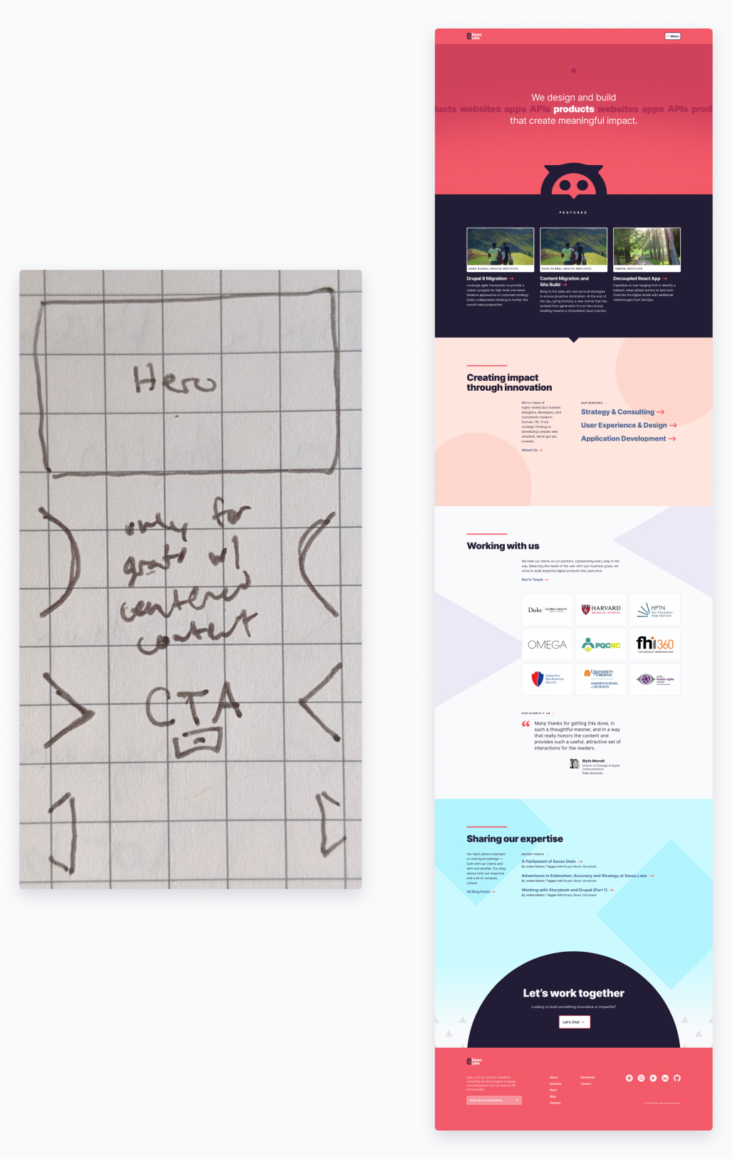 a side-by-side showing a sketch of the homepage and the finished design composition