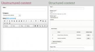 Structured vs unstructured content